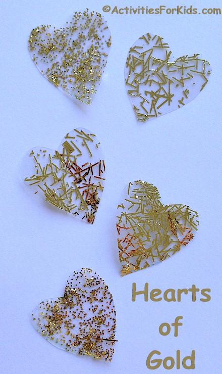 Heart of Gold Craft for kids, heart stencils at ActivitiesForKids.com