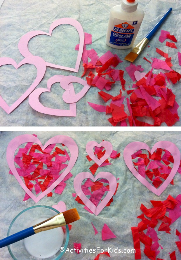 Heart suncatcher craft for Valentine's Day.  Printable heart template at ActivitiesForKids.com.