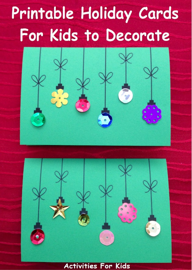 printable holiday ornament cards for kids