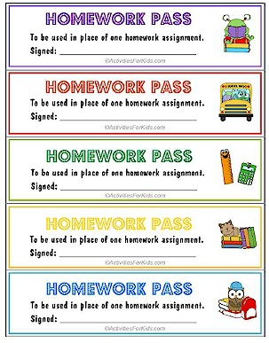 Printable homework pass. Teachers can print out a page of homework passes to hand out to their students. Very cute design, 5 print per page. Lots of classroom printouts at ActivitiesForKids.com #backtoschool