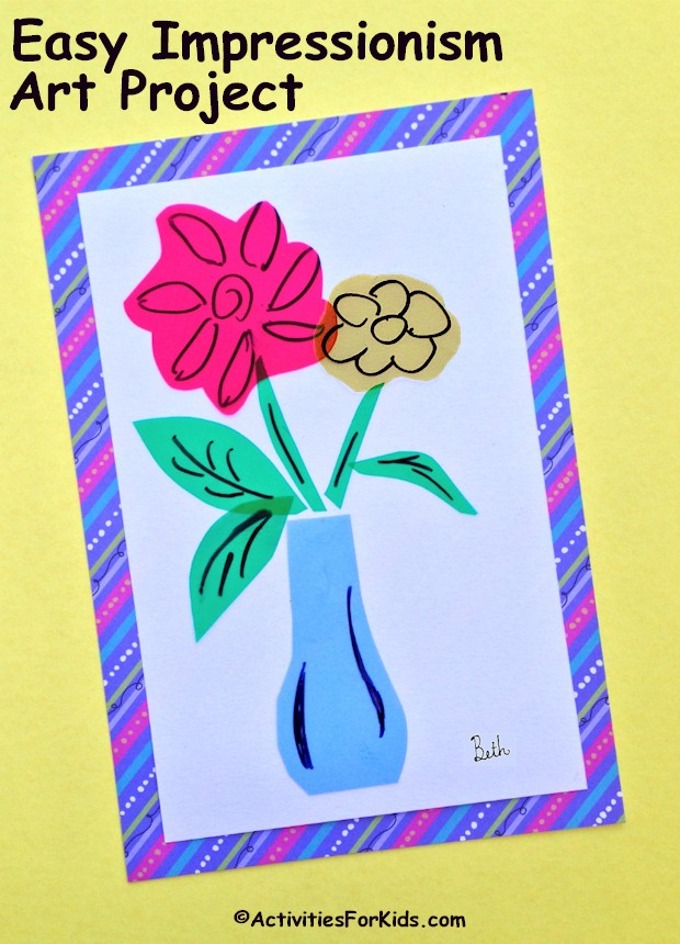 Teach impressionism art with this free form style artwork project that is easy enough for younger children. Using different colors of plastic binder sheets to create overlapping designs and whirls of color.