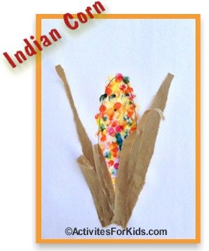Fall printout for kids. Use finger paints to make a colorful Indian Corn picture, directions at ActivitiesForKids.com