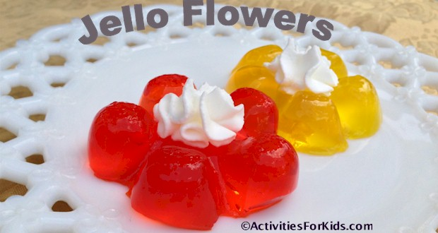 Use the bottom of a 1 liter soda bottle for a mold.  Cute jello flowers are perfect for a birthday party treat from ActivitiesForKids.com
