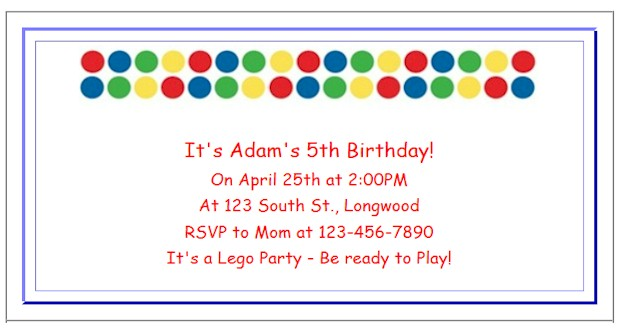 Create Lego Party Invitations at ActivitiesForKids.com  Add text and font color for free printable invitations. See more Lego Birthday Party Ideas.