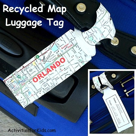 A creative way to us an old map - recycle it and make a luggage tag for your next trip from ActivitiesForKids.com