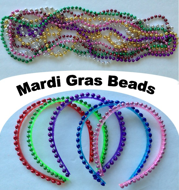 Girl's Beaded Headbands, easy craft using Mardi Gras Beads, instructions at ActivitiesForKids.com #mardigras #headbands