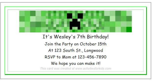 Free Printable Minecraft Party Invitations at ActivitiesForKids.com  Add text and font color for free printable invitations. See more Minecraft Party Ideas.