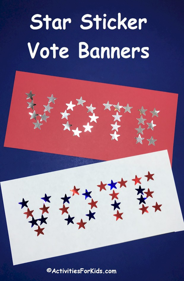 Classroom activity and bulletin board decoration for election time, Star Sticker Vote Banner printable is available at ActivitiesForKids.com