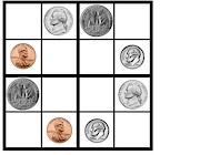 Easy Kid's Sudoku Puzzles to Print.  Use 4 different coins to fill in the puzzle.  Free Sudoku printout at ActivitiesForKids.com
