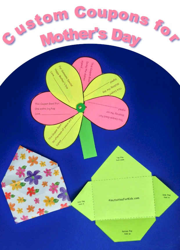 Mother's Day Coupon Book Flower printable and envelope template for kids.  Free personalized coupon book with coupon petals that children can make for their mom for Mother's Day