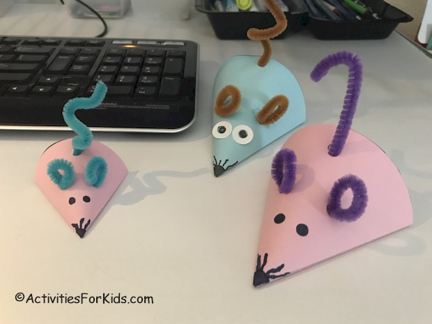 To go along with your classroom topic - create a paper mouse cone - these cute paper mice are easy to put together for kids.