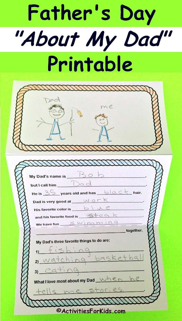 Father's Day printable card where younger kids can fill in the blanks telling about their dad.  Printable Father's Day card from Activities for Kids.