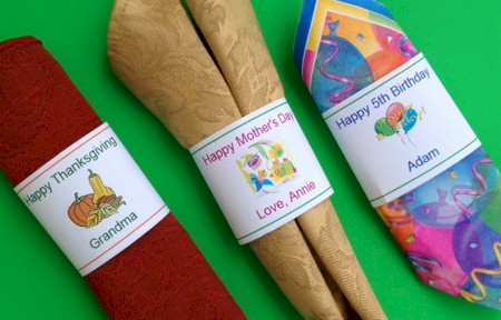 Create personalized napkin rings to make setting the table special.  Create for holidays, birthdays and more from ActivitiesForKids.com