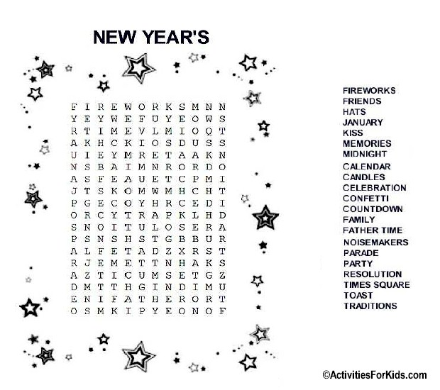 New Year's Eve Word Search at ActivitiesForKids.com #wordsearch
