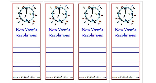 Print 8 Custom #newyearsresolutions Bookmarks per page at ActivitiesForKids.com