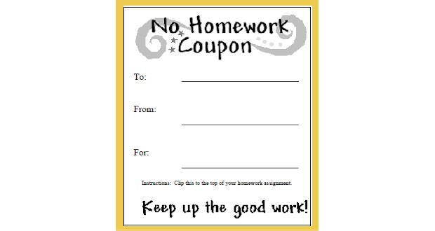 No Homework Coupons - Activities For Kids