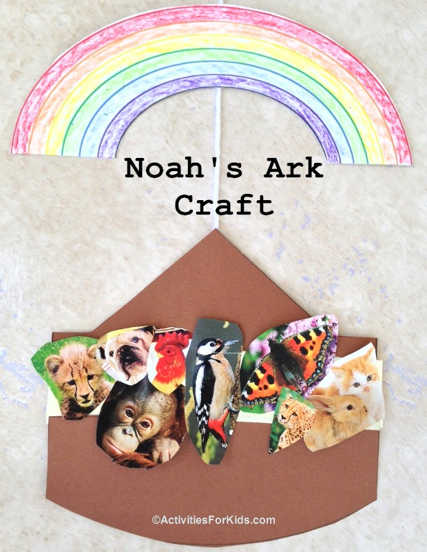 Noah's Ark Craft from ActivitiesForKids.com.  Attach animals to the ark, include a rainbow to color.