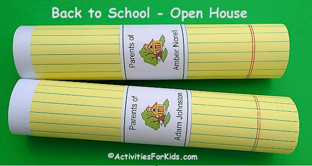 Elementary School - Classroom Open House printout holds papers for parents at ActivitiesForKids.com