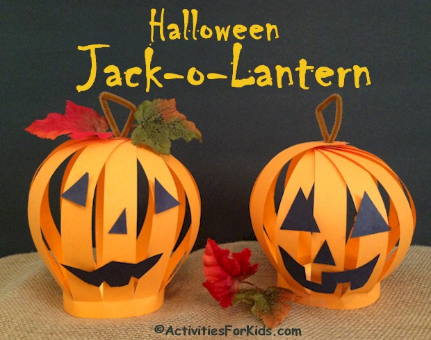 Paper Jack O Lantern craft for kids to make.  Add battery operated lights for a glowing pumpkin face.  Instructions at ActivitiesForKids.com