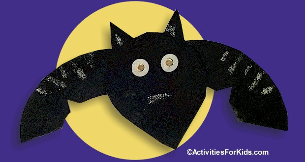 Easy Halloween crafts for kids.  Paper Plate Bat uses only one paper plate in any size and is a cute classroom craft for Halloween.  More holiday crafts at ActivitiesForKids.com