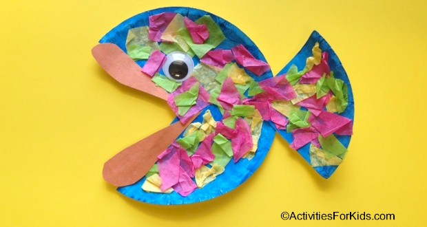 Paper plate fish - easy to make fish from a single paper plate.