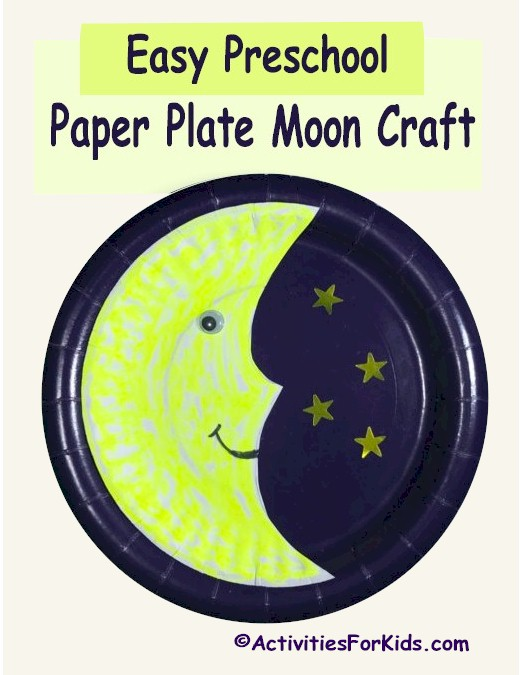 Paper Plate Moon Craft is an easy classroom activity for toddlers.  Printable man-in-the-moon template.  Several designs to choose from  Activities for Kids