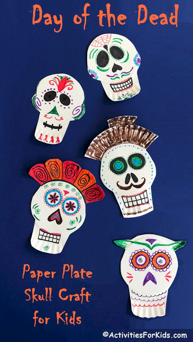 A Paper Plate Skull craft to celebrate Halloween or Day of The Dead.  A simple holiday craft from ActivitiesForKids.com