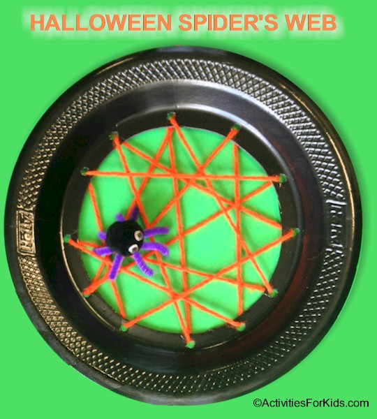 Easy Halloween crafts for kids.  Paper plate spider web is a cute Halloween decoration or a creative classroom project relating to spider stories and lessons.