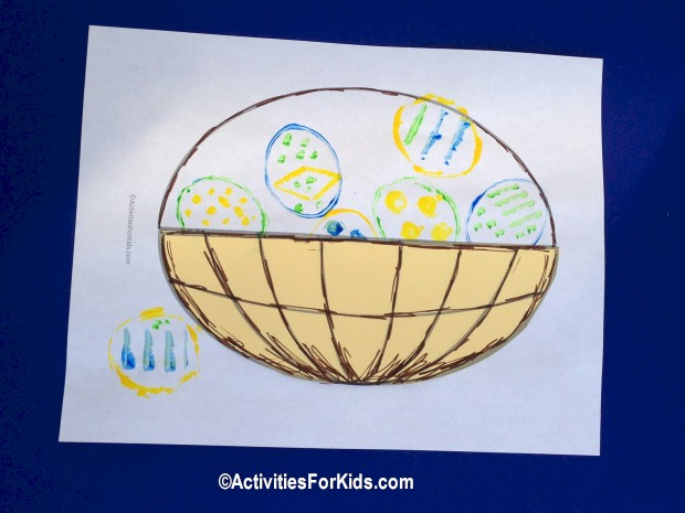 Recycle or reuse. Paper rolls are great for using as stamps.  Shape as an oval for an Easter Egg craft for kids.  Basket printout from  Activities For Kids