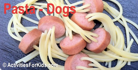 A fun treat for kids - Pasta Dogs Recipe at ActivitiesForKids.com