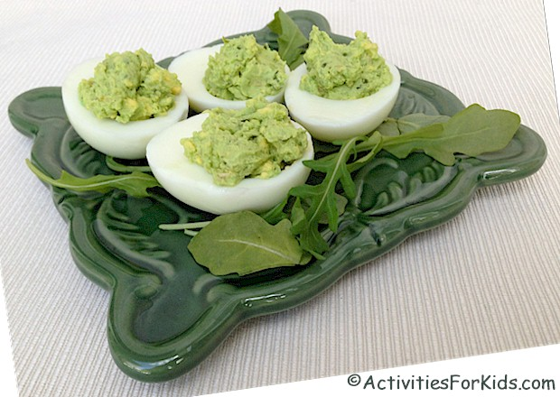 Delicious!  Pesto Deviled Eggs kids will love.  Make green eggs and ham or a fun treat for St. Patitrick's Day at Activities for Kids.