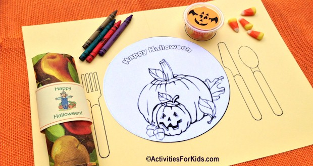 Free printable placemat for Halloween from ActivitiesForKids.com