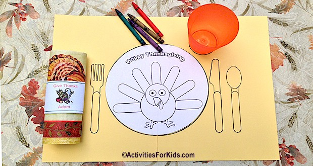 Free printable Thanksgiving Place mat for Kids.  Learn to set the table for Thanksgiving.