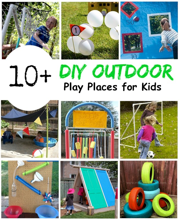 DIY Backyard Play Places for Kids from easy projects to complete waterparks and playgrounds list from Activities For Kids.com