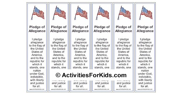 Print 6 Pledge of Allegiance bookmarks per page at ActivitiesForKids.com.  Great learning tool for teaching the Pledge of Allegiance for kids