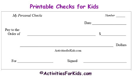 Printable checks, printable check register educational tool for kids at ActivitiesForKids.com