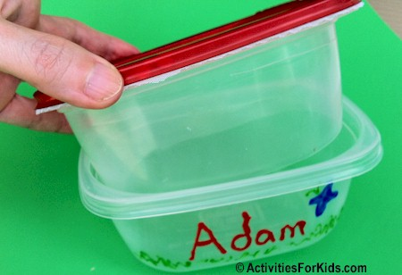 Recycled storage containers to create a Bug Catcher at ActivitiesForKids.com