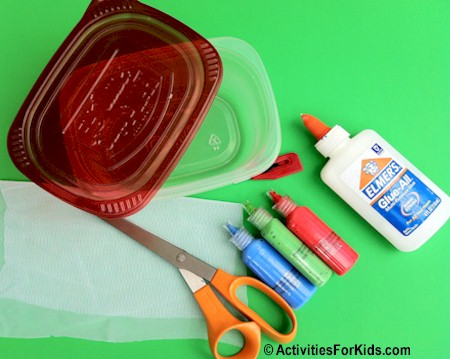 Materials needed for the recycled container bug catcher from ActivitiesForKids.com