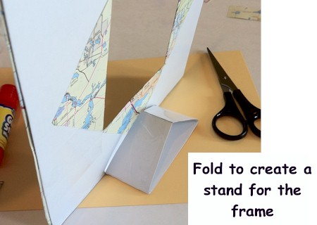 Recycle a map and create a frame.  ActivitiesForKids.com
