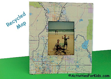A creative way to us an old map - recycle it and make a frame to showcase your vacation photos. Printable from ActivitiesForKids.com