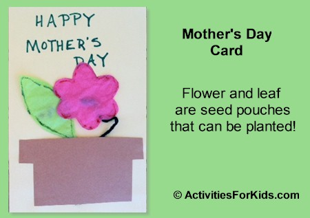 A packet of seeds in a cute Mother's Day Card - from ActivitiesForKids.com