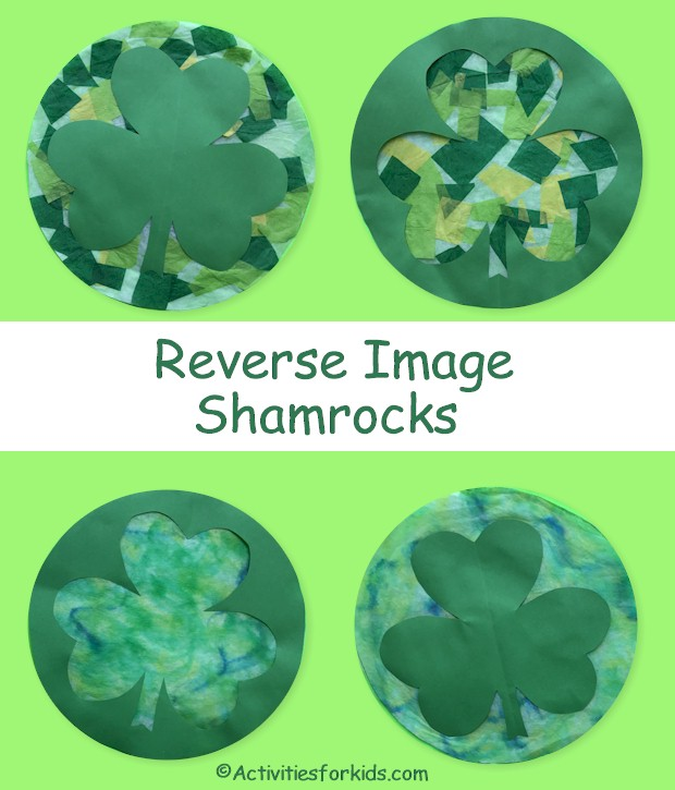 A Fun art project for St. Patrick's Day.  This Shamrock sun catcher is easy enough for pre-school children yet challenging enough for older children.  Reverse image artwork.