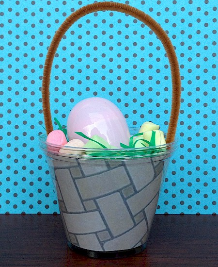 Cute Mini Easter Basket decoration made from two solo cups.  Printout from  ActivitiesForKids.com