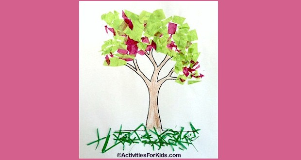 Printout for kids. Color the tree then either use finger paints or pieces of tissue paper to make colorful spring cherry blossoms and leaves printout from ActivitiesForKids.com.  Spring Crafts for kids.