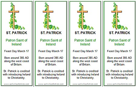 St. Patrick's Day bookmarks printable.  Each page will print 8 per at ActivitiesForKids.com