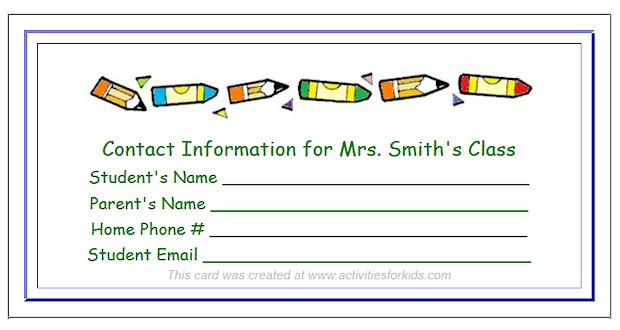 Student - Parent contact information forms from Activities for Kids