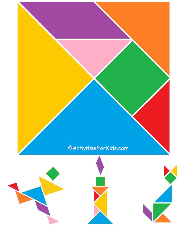 Printable Tangram Puzzle for Kids.  Find more Chinese New Year crafts for kids at ActivitiesForKids.com