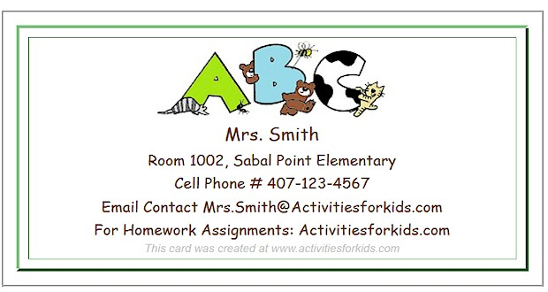 Teacher contact information forms from Activities for Kids