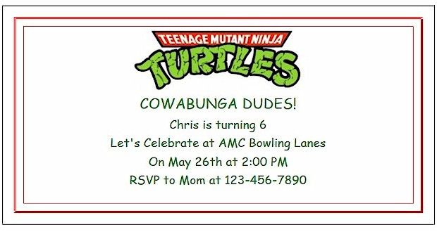 Create Teenage Mutant Ninja Turtles Party Invitations at ActivitiesForKids.com  Add text and font color for free printable invitations.