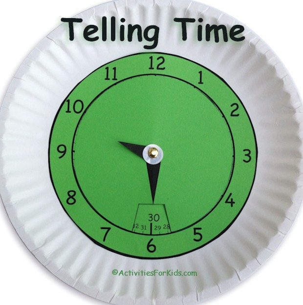 Telling Time, printable clock with minutes displayed.  Great classroom project for students learning to tell time from ActivitiesForKids.com.